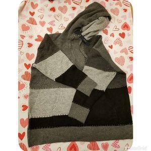 Zara Patchwork Color Block Hoodie Knit Sweater